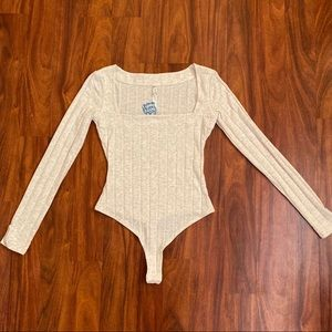 Free People Tops - Free People Beside Me Heather Long sleeve bodysuit